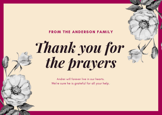 Customize 27+ Funeral Thank You Card templates online - Canva