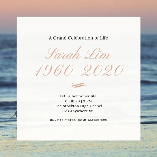Customize 38+ Funeral Invitation templates online - Canva