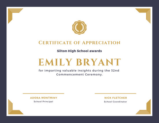 Purple and Gold Bordered Appreciation Certificate - Templates by Canva