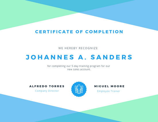 Green, White,  Blue Certificate of Completion - Templates by Canva