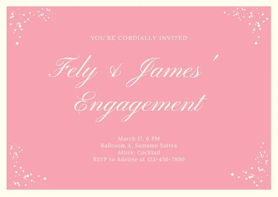 Pink  Gold Elegant Engagement Invitation Card - Templates by Canva