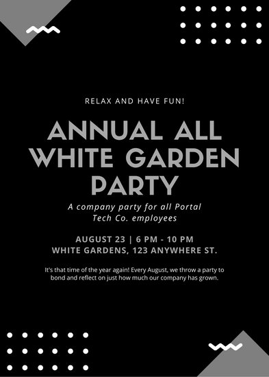 White and Black Geometric White Party Flyer - Templates by Canva