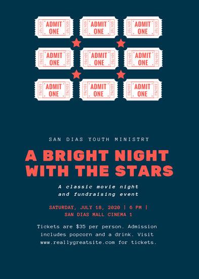 Dark Blue Cream and Red Tickets and Stars Movie Night Flyer