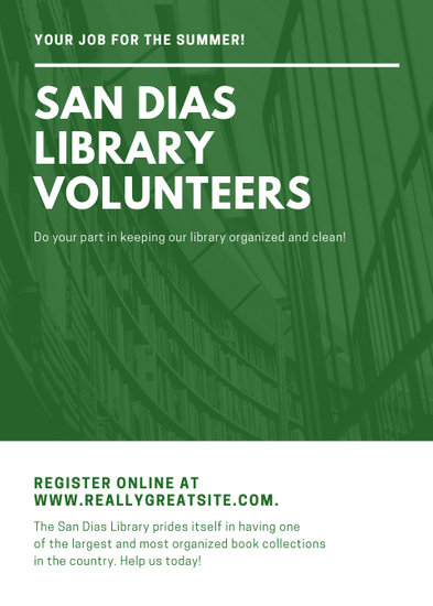 Green and White Photo Volunteer Flyer - Templates by Canva
