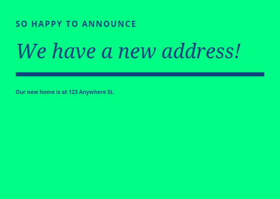 Announcement New Address Bright Neon Postcard - Templates by Canva