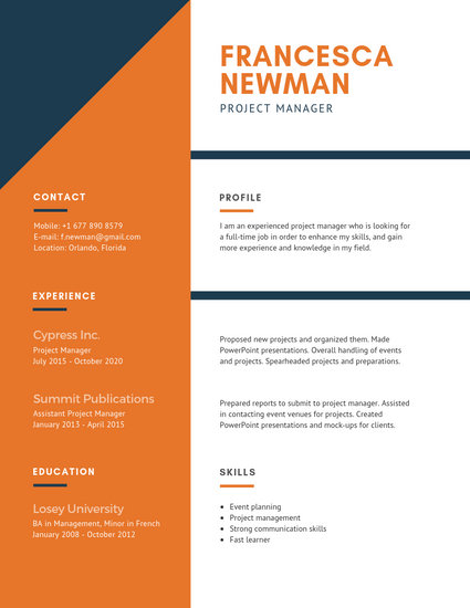 Orange and White Corporate Resume - Templates by Canva