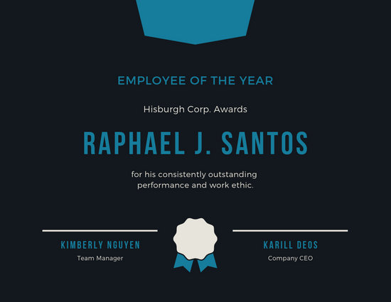 Employee of the Year Award Certificate - Templates by Canva
