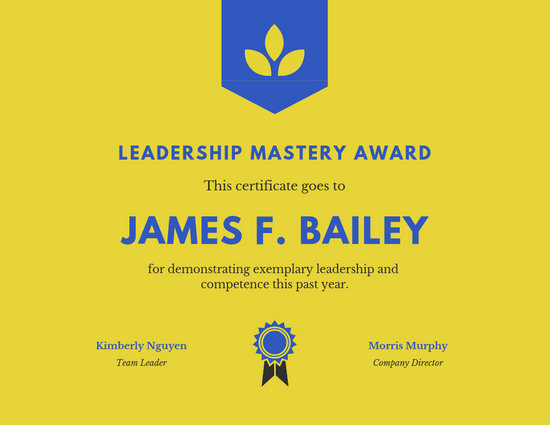 Yellow Leadership Award Certificate - Templates by Canva