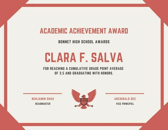 Academic Achievement Award Certificate - Templates by Canva