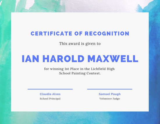 Art Contest Award Certificate - Templates by Canva