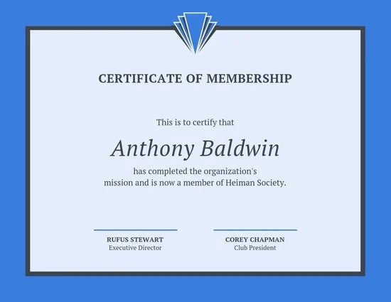 Blue Line Border Membership Certificate - Templates by Canva