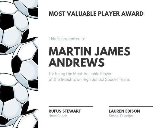 White and Black Soccer Ball Sport Certificate - Templates by Canva