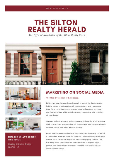 Customize 33+ Real Estate Newsletter templates online - Canva
