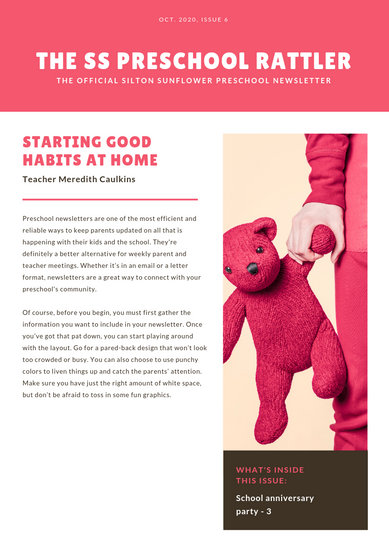 Pink and White Toddler School Newsletter - Templates by Canva