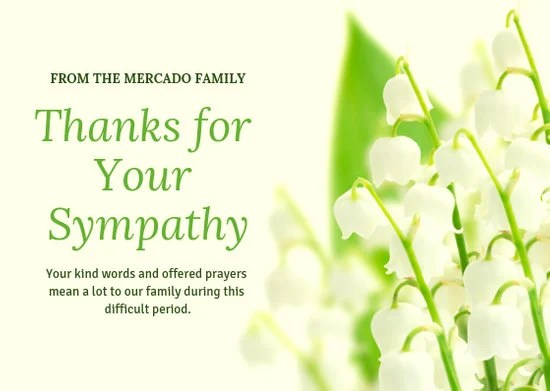 White Flower Funeral Thank You Card - Templates by Canva