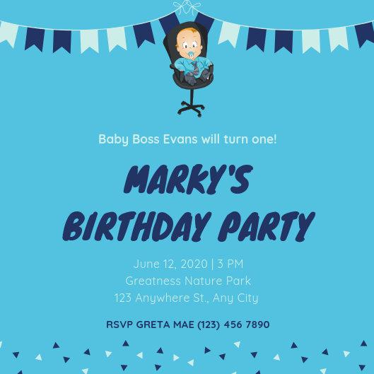 Blue Baby Boss Baby Birthday Invitation - Templates by Canva