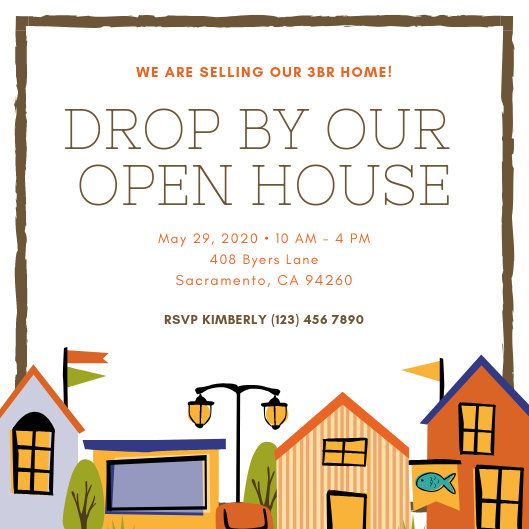 Colorful Houses Illustrated Open House Invitation - Templates by Canva