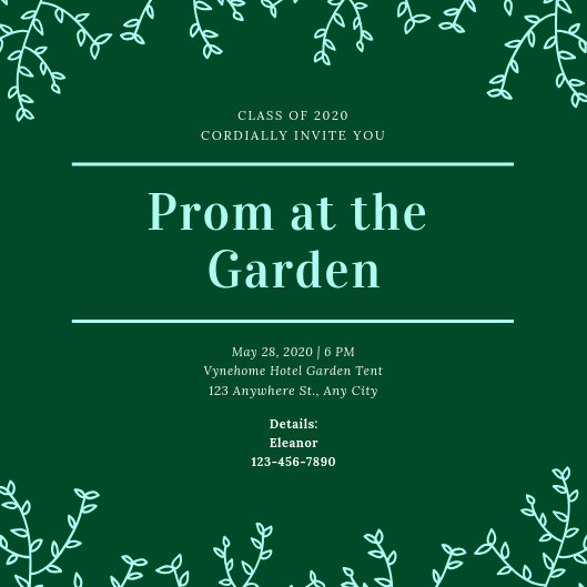 Garden Vines Prom Invitation - Templates by Canva