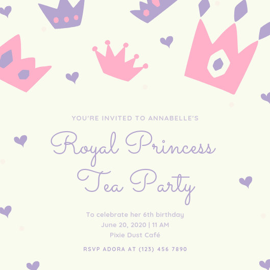 Pastel Purple and Pink Princess Birthday Invitation - Templates by Canva