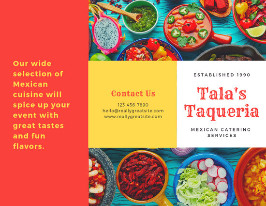 Red and Yellow Mexican Food Photo Catering Trifold Brochure