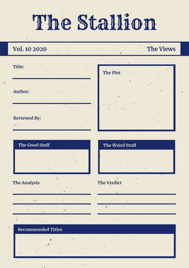 Navy Cream Vintage Simple Newspaper Book Report - Templates by Canva