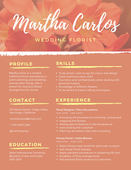 Orange Yellow Floral Florist Photo Resume - Templates by Canva