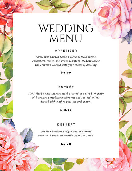 Vintage Floral Bordered Wedding Menu - Templates by Canva