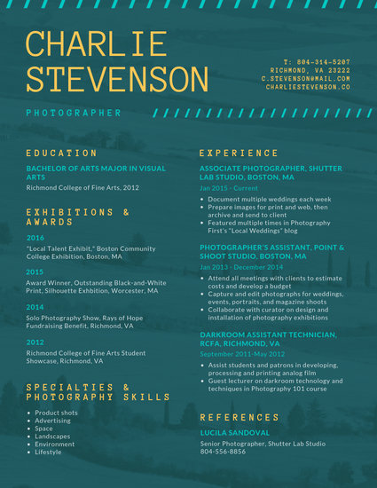 Dark Teal and Yellow Nature Background Photo Resume - Templates by Canva