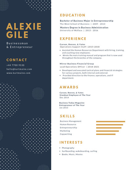 White and Blue with Polka Dots Minimalist Resume - Templates by Canva