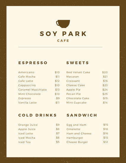 Customize 70+ Coffee Shop Menu templates online - Canva