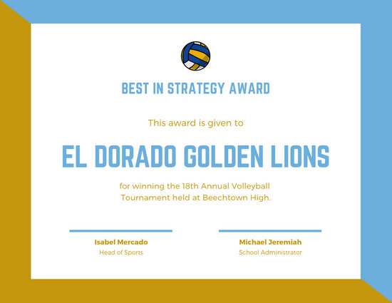 Blue Volleyball Sports Certificate - Templates by Canva