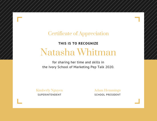 Simple Black Gold Border Appreciation Certificate - Templates by Canva