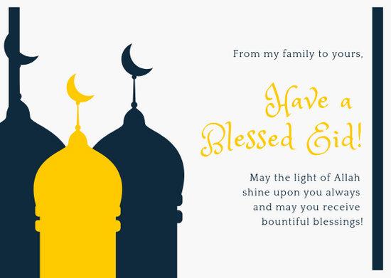 Dark Blue and Yellow Eid Mubarak Card - Templates by Canva