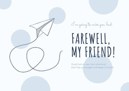 White Paper Plane Farewell Card - Templates by Canva