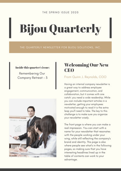 Brown Bordered Simple Employee Newsletter - Templates by Canva