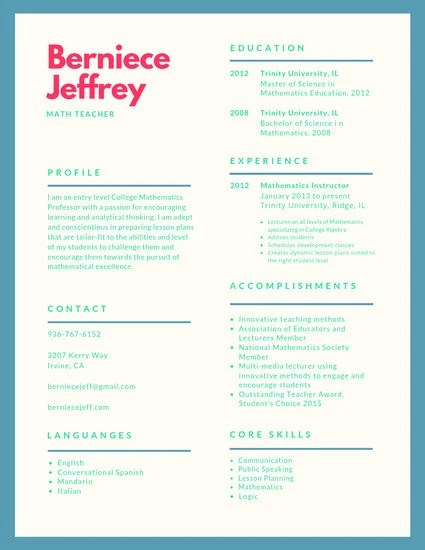 Cadetblue Simple Teacher Resume - Templates by Canva