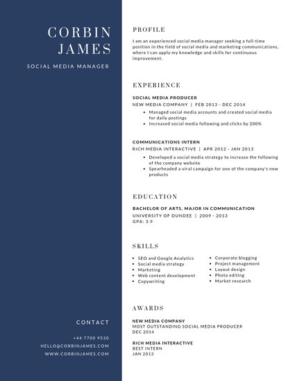 Customize 99+ Corporate Resume templates online - Canva
