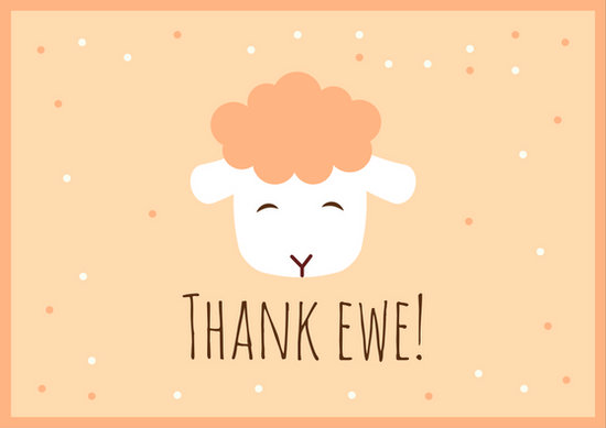 Light Brown Ewe Sheep Funny Thank You Card - Templates by Canva