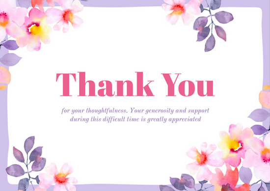Light Violet Floral Sympathy Thank You Card - Templates by Canva