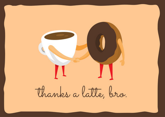 Brown and Yellow Coffee Donut Illustration Funny Thank You Card