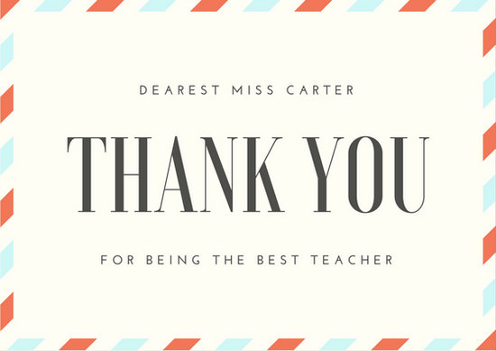 Airmail Teacher Thank You Card - Templates by Canva