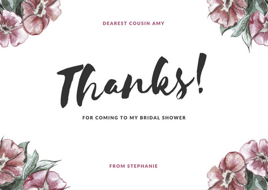 Pink Floral Bridal Shower Thank You Card - Templates by Canva