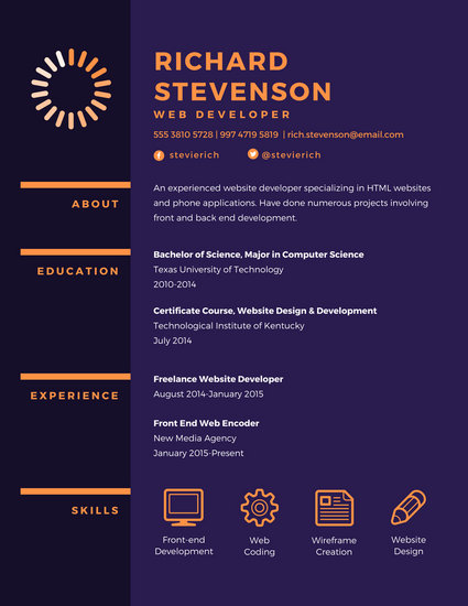 Purple Web Developer Resume - Templates by Canva - web design resume