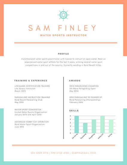 Orange Nautical Water Sports Resume - Templates by Canva
