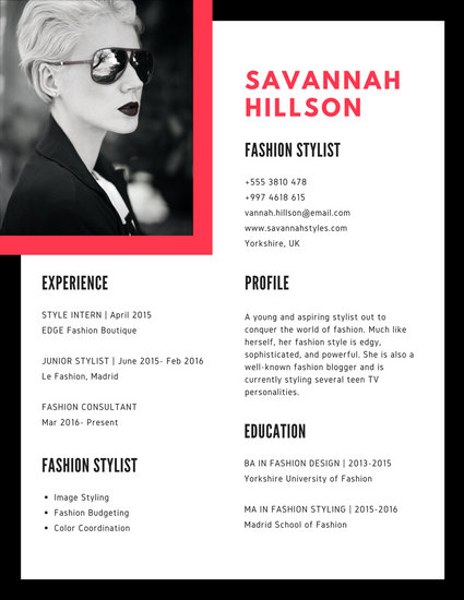 Black Red Geometric Stylist Resume - Templates by Canva