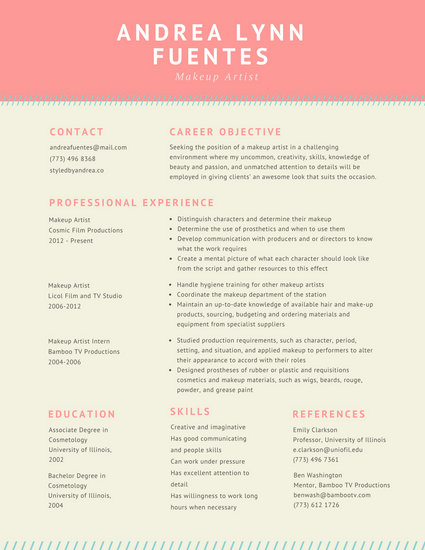 Pink Striped Makeup Artist Simple Resume - Templates by Canva