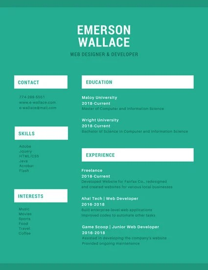 Green and White Simple Resume - Templates by Canva