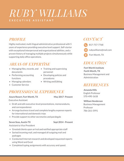 Orange Professional Executive Assistant Resume - Templates by Canva