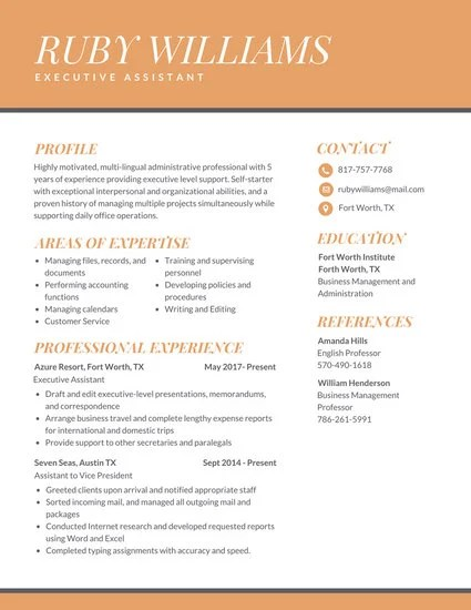 Orange Professional Executive Assistant Resume - Templates by Canva - Executive Assistant Resume Templates