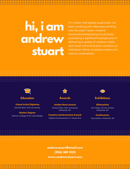Dark Blue and Orange Dotted Visual Designer Resume - Templates by Canva - visual designer resume